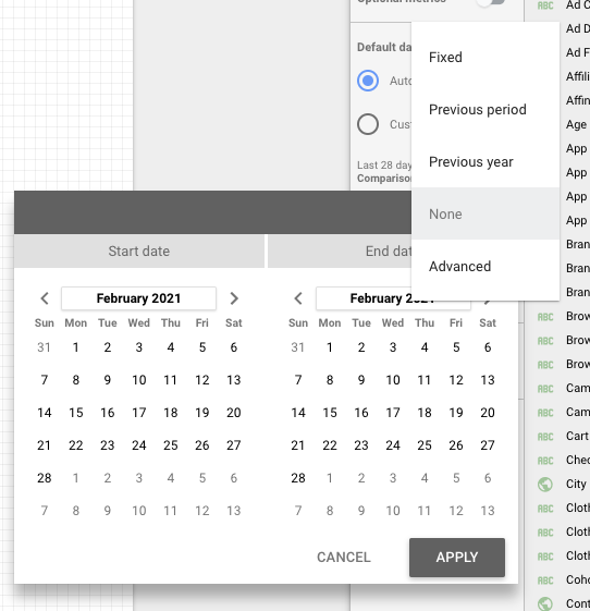 Comparison date range google data studio