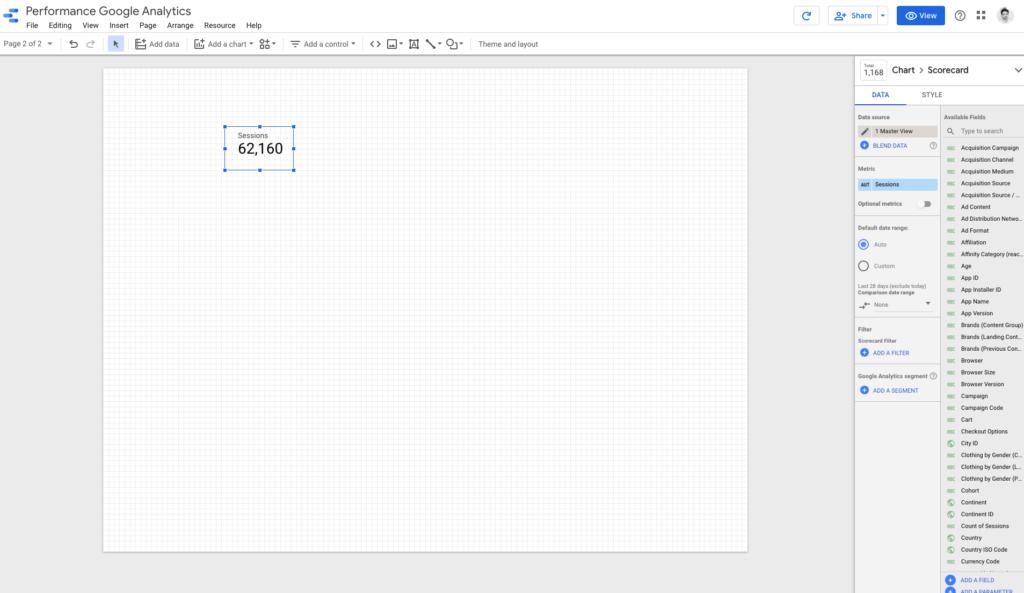 Scorecard google data studio