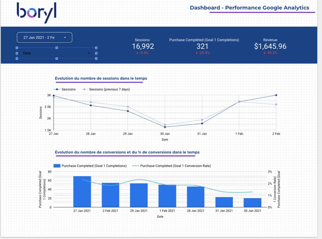 Les sélecteurs de dimensions sur Google Data Studio
