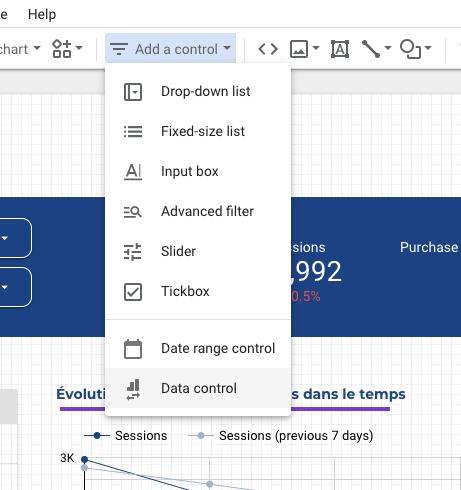 Les sélecteurs de source de données sur Google Data Studio