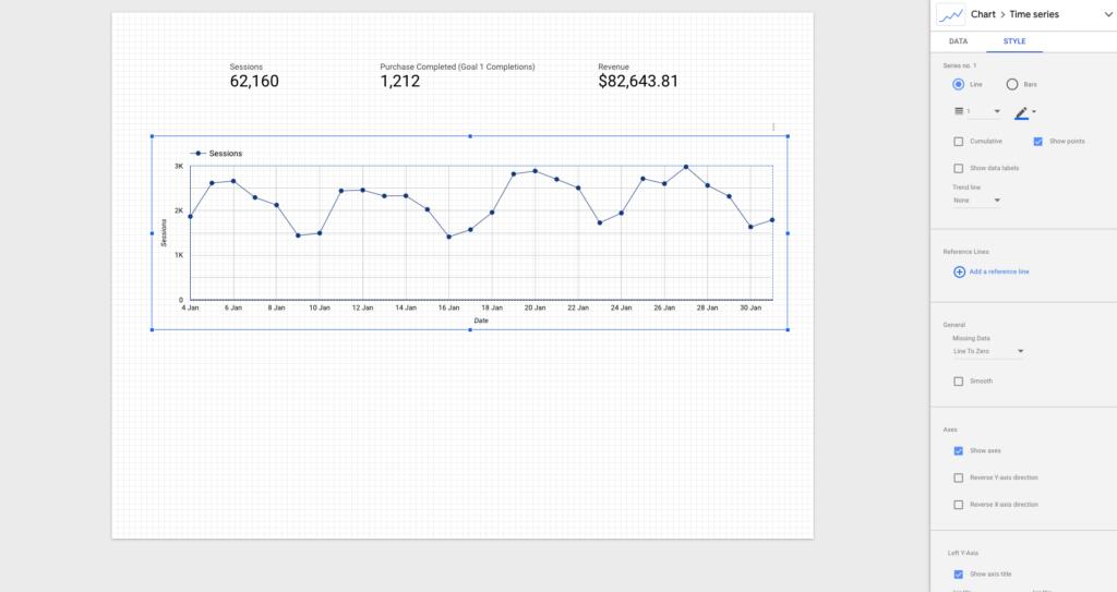 Visualisation google data studio