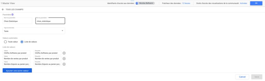 """Créer un sélecteur """"Statistique à afficher"""" sur Google Data Studio"""